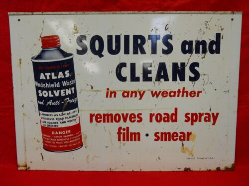 Vintage ATLAS (ESSO) Windshield Washer Solvent / Wiper Blades Double-Sided SIGN