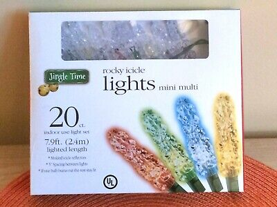 ROCKY ICICLE LIGHTS MULTI COLOR INDOOR JINGLE TIME NEW PKG OF 20