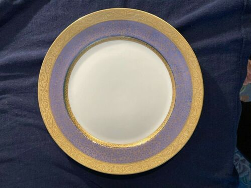 ROSENTHAL Dinner Plates Set of 8 Daisy & Rose Blue & Gold Pattern 10 3/4 inches