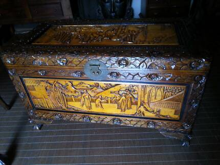 XLARGE CAMPHOR CHEST- ALL CARVED- 2 TONED -  IN GREAT CONDTION Murrumba Downs Pine Rivers Area Preview