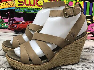 Timberland Earthkeepers Brown Nubuck Leather Wedge Sandals Womens 7 Ankle Strap