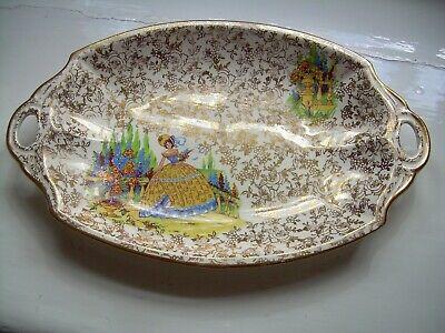 Vintage crinoline lady sandwich plate. Garden of flowers. Art Deco.