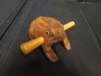 "2 3/4"" Hand Carved Wooden Croaking Frog - Makes A Percussion Sound like Croaking"