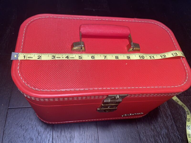 Vintage Lady Baltimore Luggage Co. Red Train Makeup Case with mirror 1950