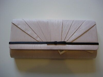 JACQUES VERT CHAMPAGNE PLEAT BOW CLUTCH BAG-NEW