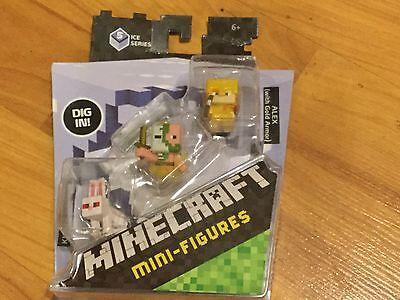 NEW Minecraft Mini-Figures 3 Pack Killer Rabbit, Zombie Pigman & Alex Gold Armor