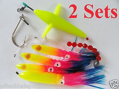 2 Sets Daisy Chain Bait Rig Bird Tuna Marlin Fishing Trolling Lure Squid-RAINBOW