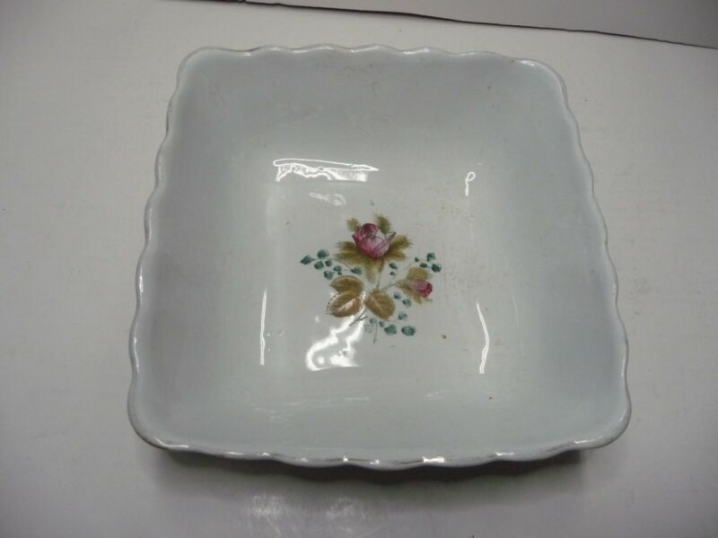 """Royal Ironstone China Alfred Meakin England Square Bowl 8"""" Scalloped Pink Rose"""