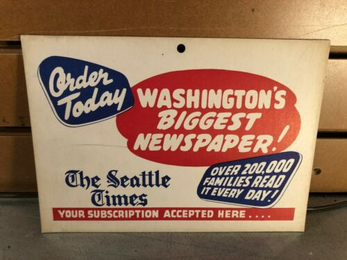 "Vintage Seattle Times Display Card- ""Order Today"""