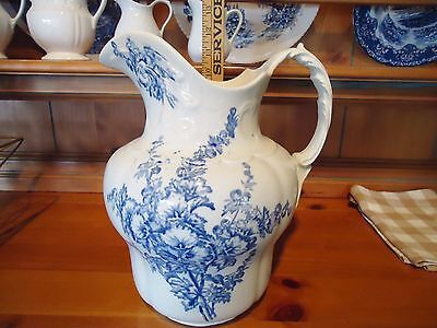 Large Blue and White Transferware Pitcher – Pretty Design!
