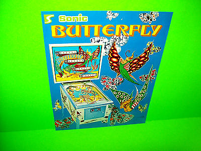 Sonic BUTTERFLY 1977 Vintage Original Flipper Game Pinball Machine Promo Flyer