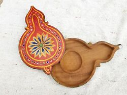 Old Handmade Multi Color Painted Wall Clock Shape Wooden Box