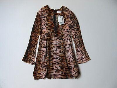 NWT A. L.C. Brinkley in Tiger Print Silk Crepe de Chine Bell Sleeve Mini Dress -