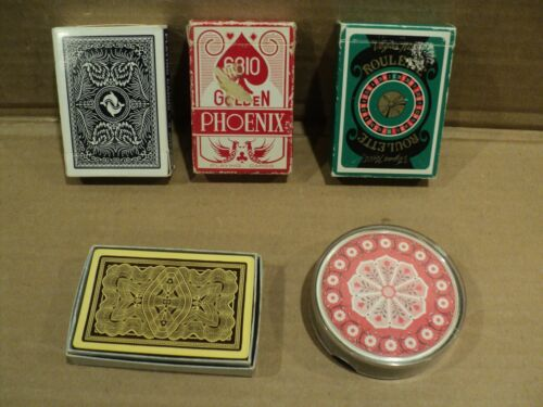 Mixed Lot Of 5 Playing Cards, Round, Vegas Roulette, Dolphins, Golden Phoenix