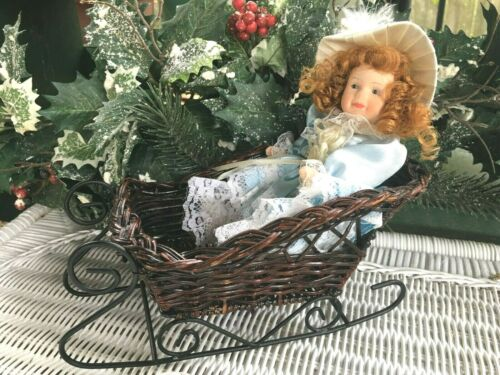 Small Wicker Winter Sleigh & Mini Victorian Bisque Porcelain Doll Red Curly Hair