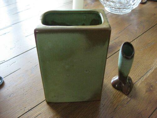 """Set of 2 Frankoma Vases-Bud Vase and Rectangular Pillow Vase 7 1/2"""""""