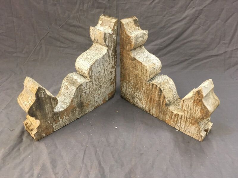 Pair Antique Corbels Roof Brackets Gingerbread Shabby Cottage Vtg Chic 708-17E