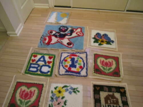 VTG  Lot  of 8 Latch Hook Rug  Complete