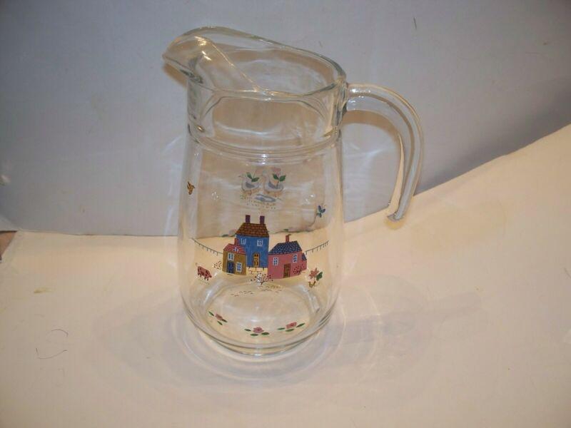 Rare Vintage Heartland Pattern 64 Oz Glassware Pitcher by INTERNATIONAL CHINA