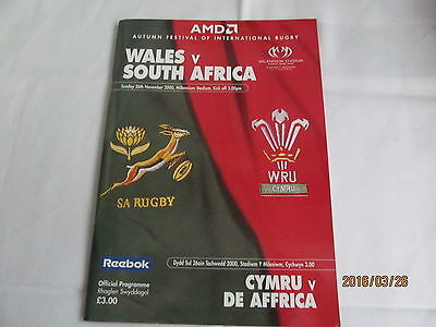 Wales v South Africa Saturday 26th November 2000 Match Day Programme.