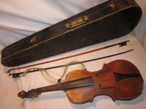 as-is parts / repair vintage antique HOPF violin * Czechoslovakia Artistie bow +