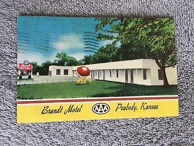 Post Card ~ Brandt Motel ~ Peabody, Kansas ~ with Stamp ~ 1956