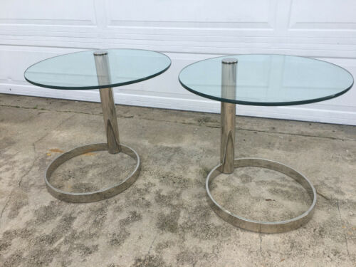 Pair Of Chrome Cantilevered coffee tables Leon Rosen For Pace Collection