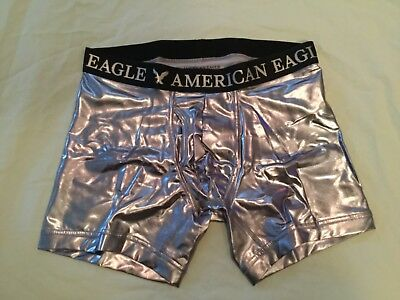"""NEW AMERICAN EAGLE SILVER Black 6"""" INSEAM BOXER FLY FRONT TRUNK MEN SIZE SMALL  Silver Black Boxer"""