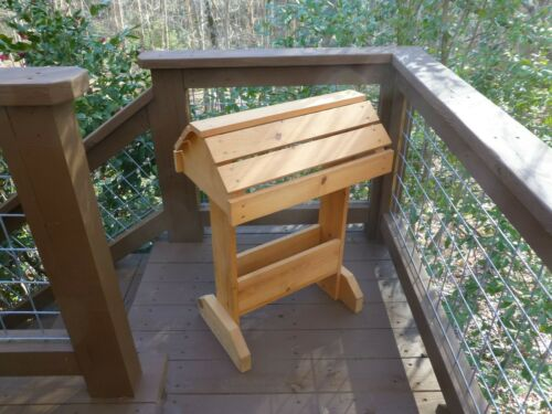 """Saddle Stand, Stained Wood, 34"""" x 24"""" x 15"""", Storage Compartment"""
