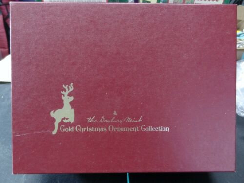 Set of 12 Danbury Mint Gold Christmas Ornaments with Box