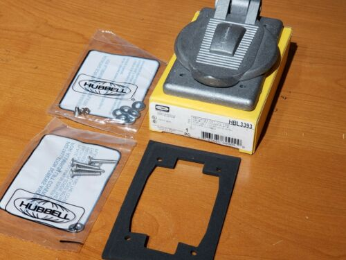 2 NEW in Box Hubbell HBL3393 Aluminum Wet Location Cover Plate w/ Hardware