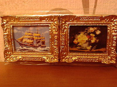 Dolls House Miniatures 1/12th scale Set of 2 Gilt Framed Pictures New (D560)