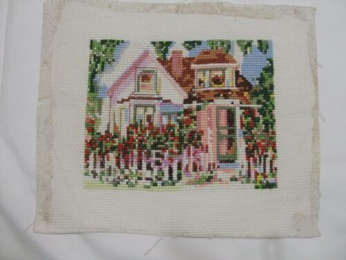 Vintage Cross Stitch Picture Of House With Flower Gardens