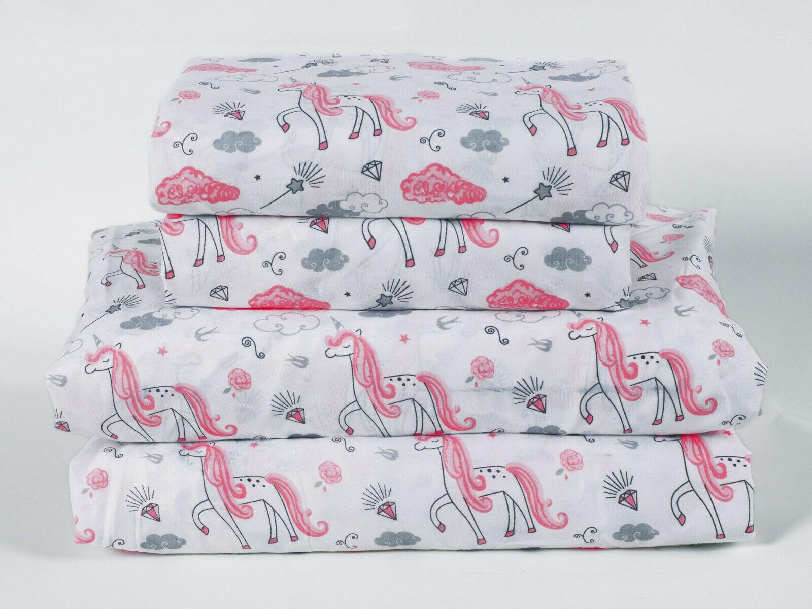 Microfiber Kid's Unicorn Sheet Set Girls, Pink, Grey, Stars, Clouds Bedding