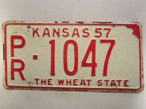 LICENSE PLATE Car Tag 1957 KANSAS PR 1047 [Z289A]