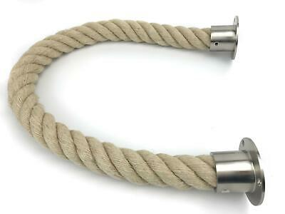 40mm Natural Barrier Rope x 1 Metres c/w Satin Nickel Cup End Fittings