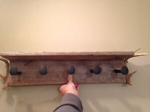 Awesome rustic coat hanger shelf