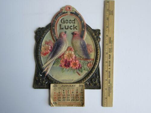 Antique 1931 Germany Die Cut Embossed Birds & Horseshoe Good Luck Calendar