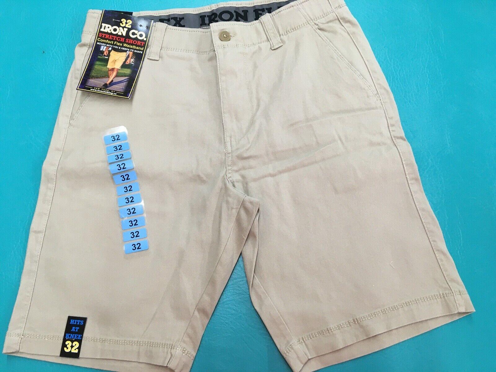 Comfort Flex Waistband Stretch Mens Shorts Pants Cotton Spandex NEW Iron Co