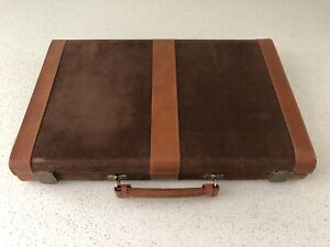 Backgammon Large Travel Set - Brown Vinyl Suede (Great condition)