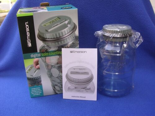 New Emerson Digital Coin-Counting Money Jar with Lid and Original Box