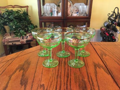 Set of 5 Anchor Hocking Green Block Optic Gold Rimmed Champagne Glasses