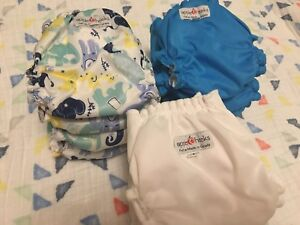 Applecheeks Size 1 Cloth Diaper Bundle (8 covers with inserts)