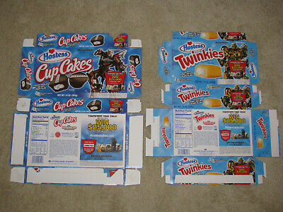 Transformers 2007 Movie Hostess Cupcakes Twinkies Boxes Lot of 2 flattened