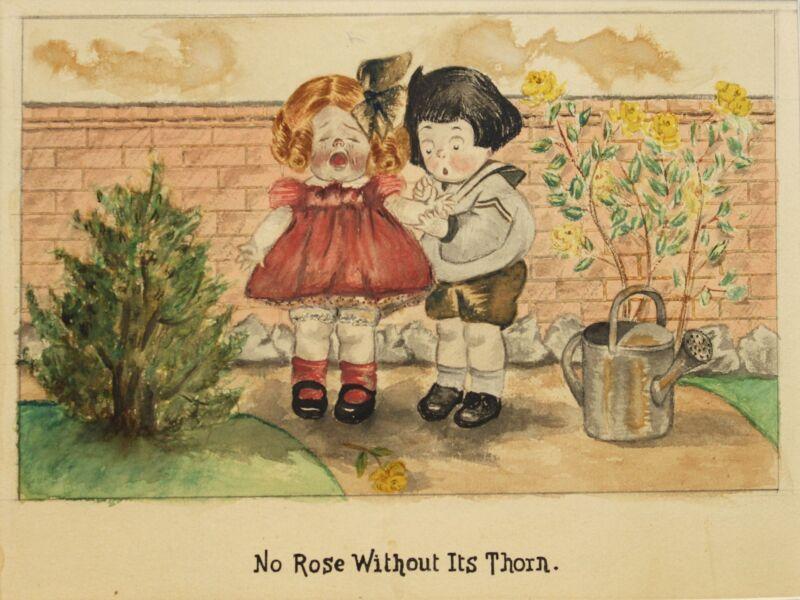 GRACE DRAYTON- NY Illustrator-2 Signed Mixed Media Paintings-Children/Animals