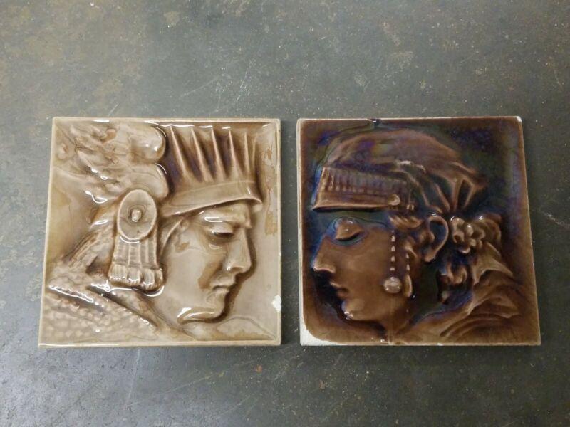 Pair antique face tile American Encaustic Co Majolica Glaze brown architectural