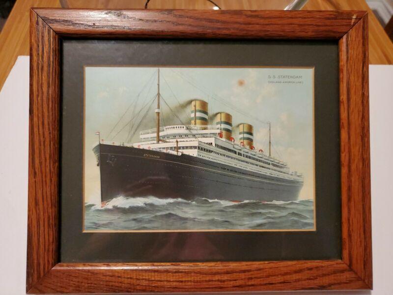 Antique HOLLAND AMERICA LINE CRUISE SHIP Lithograph SS STATENDAM 2 Justicia 1914