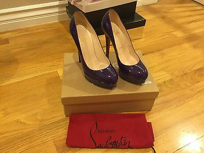 Authentic Christian Louboutin Bianca 140MM Purple Patent Leather Size 6.5 36.5