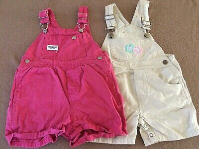 Girl's 2-piece lot summer short overalls size 18 months beige melon 2 Piece Overall Short