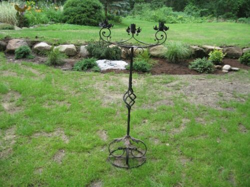 LARGE STANDING 3 TIER MEDIEVAL GOTHIC WROUGHT IRON CANDELABRA  CANDLE HOLDER